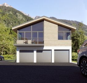Chalet on top of three garages